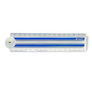 Régua Plástica Dobrável com Transferidor 30cm Azul