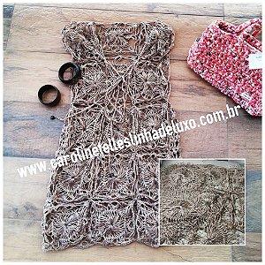 Saída de praia cor de cobre em seda sintética