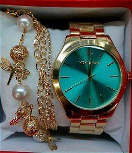 Relógio Cores com Dourado e Prata