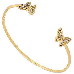 Bracelete com Borboletas, Banhado a Ouro