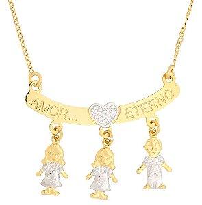 Canga Amor Eterno, com até 3 Pingentes, Banhada a Ouro