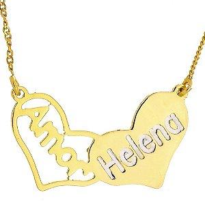 Gargantilha Corações Personalizada, Banhada a Ouro