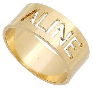 Anel Personalizado com Nome Vazado, Banhado a Ouro