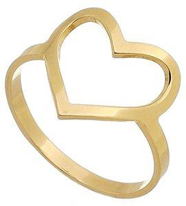 Anel Coração Grande Banhado a Ouro