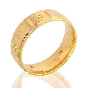 Aliança Diamantada - Folheado a Ouro