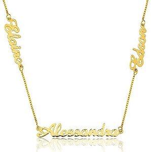 Gargantilha Personalizada com 3 nomes Banhada a Ouro