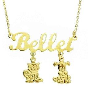 Gargantilha Personalizada com até 3 Pets Banhada a Ouro