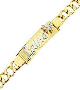 Pulseira Personalizada Grumet com Borboleta Banhada a Ouro