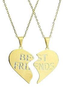 Pingente Best Friends + Correntes Banhada a Ouro