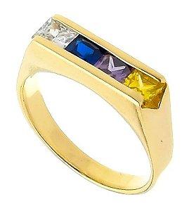 Anel Cigano 4 Pedras Carrê Banhado a Ouro