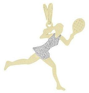 Corrente Jogadora de Tênis Banhada a Ouro