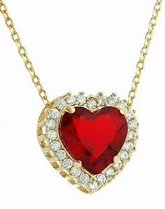 Gargantilha Coração Cravejado + Corrente Banhada a Ouro