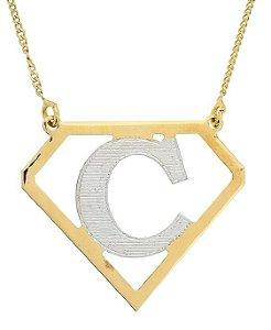Gargantilha Diamante com Inicial Banhada a Ouro