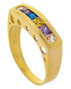 Anel Cigano 6 Pedras Carrê Banhado a Ouro