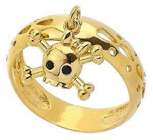 Anel Caveira Banhado a Ouro