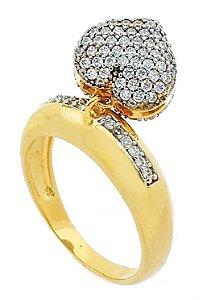 Anel Coração, Aro com 12 pedras Banhado a Ouro