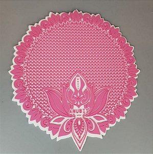 Tapete de Silicone Anubis Rosa e Branco