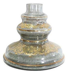 Vaso Jasmine Shisha Glass Dourado Grega