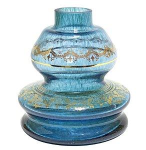 Vaso Lampião Shisha Glass Aquamarine Grega