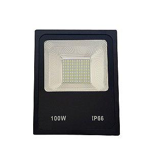 REFLETOR MICROLED SMD SLIM 100W BRANCO QUENTE