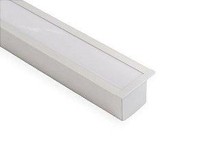 Perfil alumínio de embutir full difusor leitoso para LED