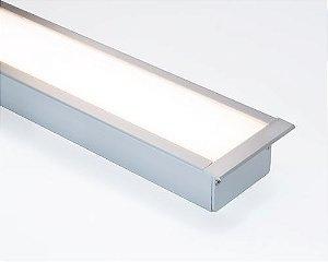 Perfil alumínio de embutir wide difusor leitoso para LED