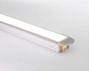Perfil alumínio de embutir standard difusor leitoso para LED