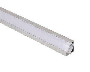 Perfil alumínio de canto em V difusor leitoso