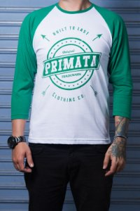 "Camiseta Raglan ""Built to Last"" Branco com Verde"