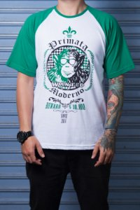 "Camiseta ""Wanted"" Branco com Verde"