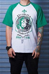 "Camiseta ""Wanted"" Branco com Verde"