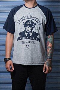 """Camiseta """"Modern"""" Mescla com Azul"""