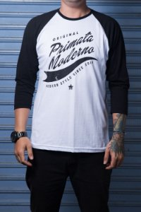 "Camiseta Raglan ""Original"" Branco com Preto"