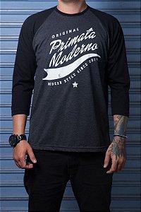 """Camiseta Raglan """"Original"""" Grafite com Preto"""