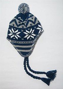 Gorro Peruano Azul Marinho e Cinza