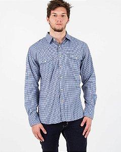 Camisa Social Xadrez Azul com Branco