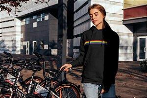 Moletom Bolso Canguru - FAIXA LGBTQI+ PEOPLE - PRETO
