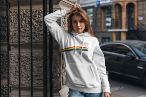 Moletom Bolso Canguru - FAIXA LGBTQI+ PEOPLE - BRANCO