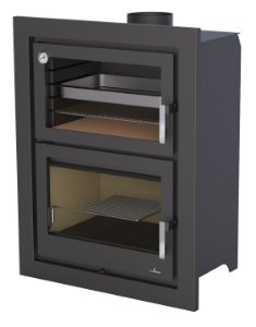 Forno e Calefator a Lenha 2 em 1 -  modelo MURANO-E - Bronpi - de parede ou piso.