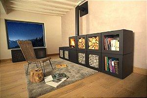 Lareira a lenha / modular / modelo  Philippe Starck / JC Bordelet / França