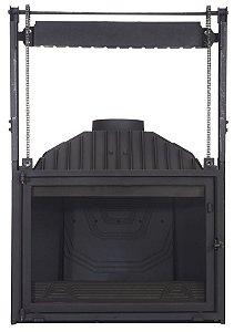 Lareira a Lenha Calefator - Diffusion - B20 em ferro fundido / vidro guilhotina / Made in France