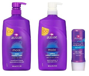 Kit Aussie Moist com Shampoo 860ml + Condicionador 860ml + Máscara 3 Minute 236ml