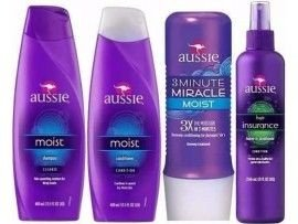 Kit Aussie Moist Shampoo + Condicionador + Máscara 3 Minute + Leaving Aussie Hair Insurance