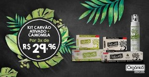 Kit 1 Creme Dental Camomila + 1 Creme Dental Carvão + 1 Sabonete Camomila + 1 Sabonete Carvão + 1 Desodorante Camomila