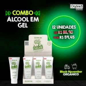 Álcool em gel 70% com extratos orgânicos de camomila, erva-doce e aloe vera 60mL (Display 12 unidades)