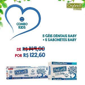 COMBO KIDS: 5 Géis Dentais Baby + 5 Sabonetes Baby