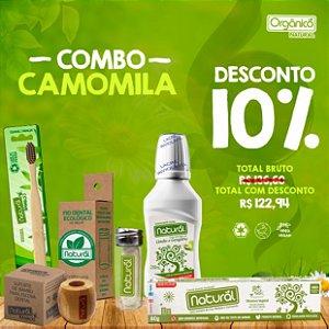 COMBO CAMOMILA (Fio Dental de Milho + Refil de Fio Dental de Milho + Escova Dental + Suporte + Creme Dental Camomila + Enxaguante de Limão e Gengibre)