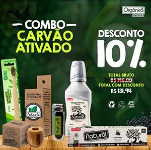COMBO CARVÃO ATIVADO (Fio Dental de Carvão Ativado + Refil de Fio Dental de Carvão Ativado + Escova Dental + Suporte + Gel Dental de de Carvão Ativado + Enxaguante Detox )