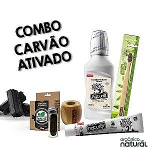 COMBO CARVÃO ATIVADO (1 Gel Dental Carvão Ativado + 1 Fio Dental de Carvão + Refil de Fio Dental deCarvão +1 Escova Dental Bambu + Suporte + 1 Enxaguante Detox )