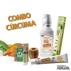COMBO CÚRCUMA  ( 1 Fio Dental de Milho + 1 Refil de Fio Dental + Escova Dental + Suporte + Creme Dental de Cúrcuma + Enxaguante Cúrcuma)